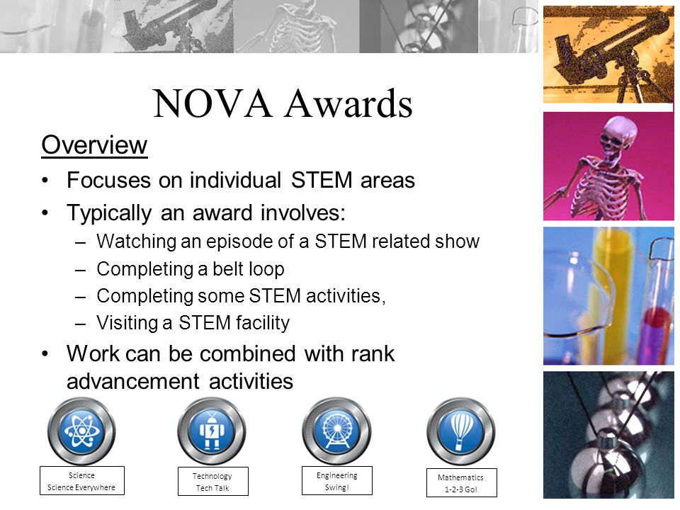 NOVA Awards Overview Focuses on individual STEM areas Typically an award involves: –Watching an episode of a STEM related show –Completing a belt loop –Completing some STEM activities, –Visiting a STEM facility Work can be combined with rank advancement activities Mathematics 1-2-3 Go.