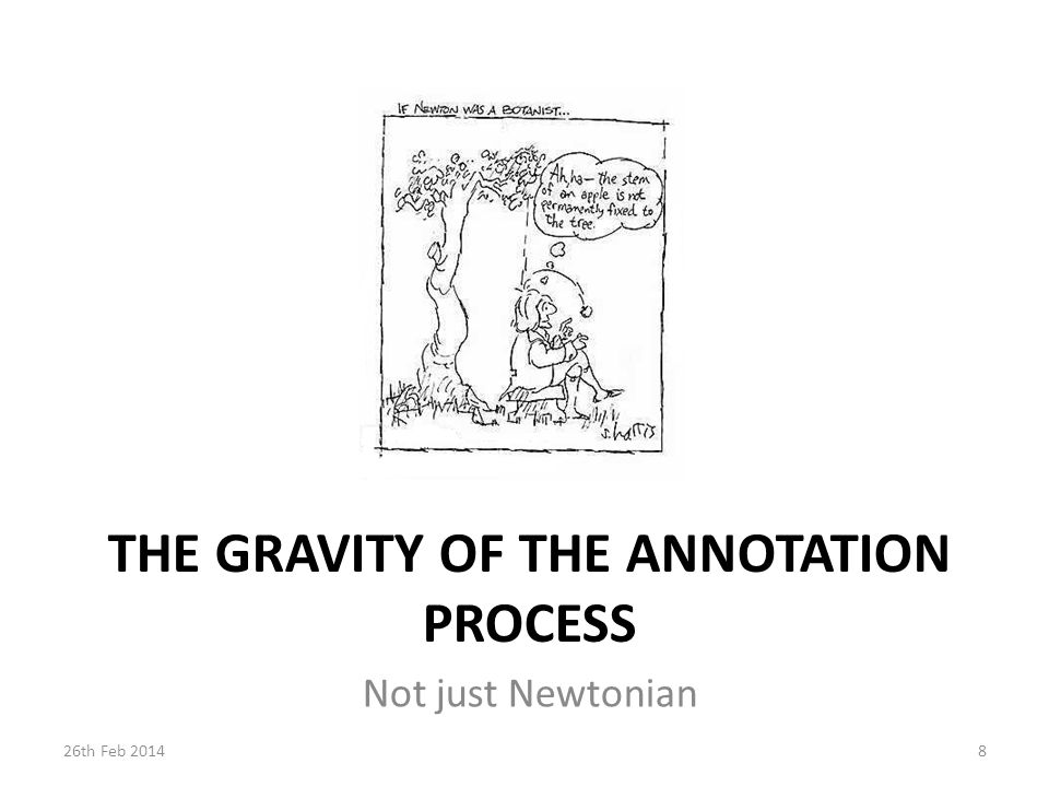 THE GRAVITY OF THE ANNOTATION PROCESS Not just Newtonian 826th Feb 2014