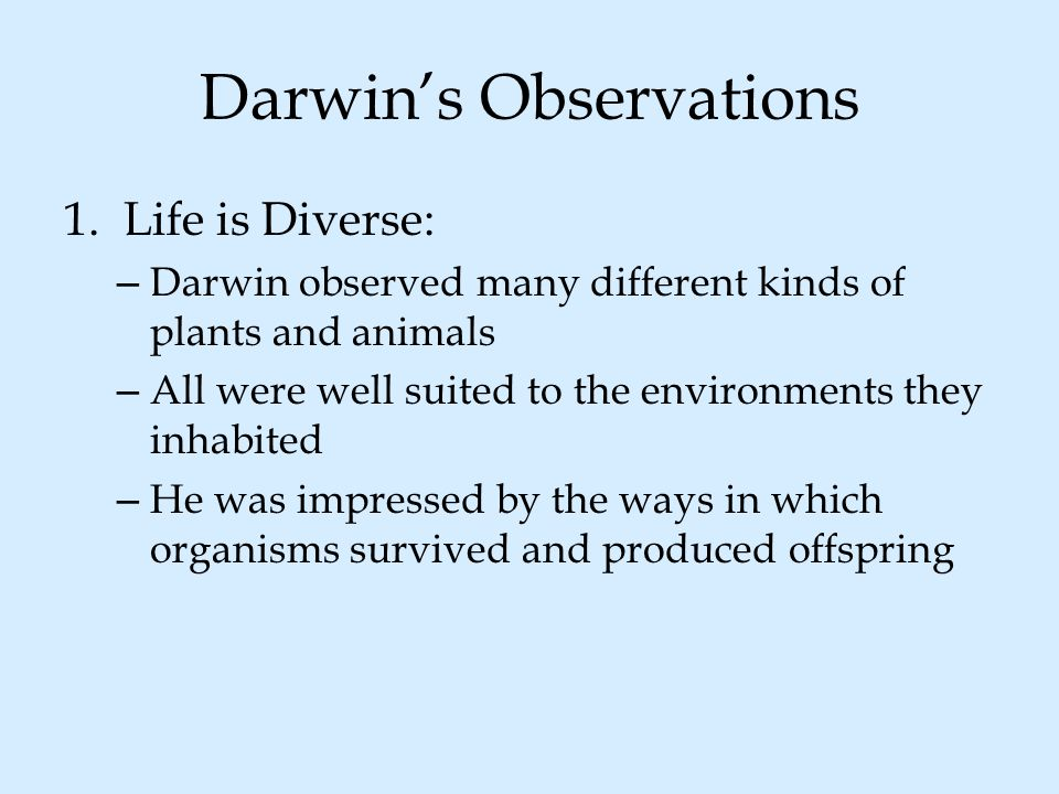Darwin's Observations 1.Life is Diverse: – Darwin observed many different kinds of plants and animals – All were well suited to the environments they