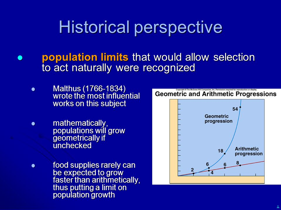 . Historical perspective Malthus (1766-1834) wrote the most influential works on this subject Malthus (1766-1834) wrote the most influential works on