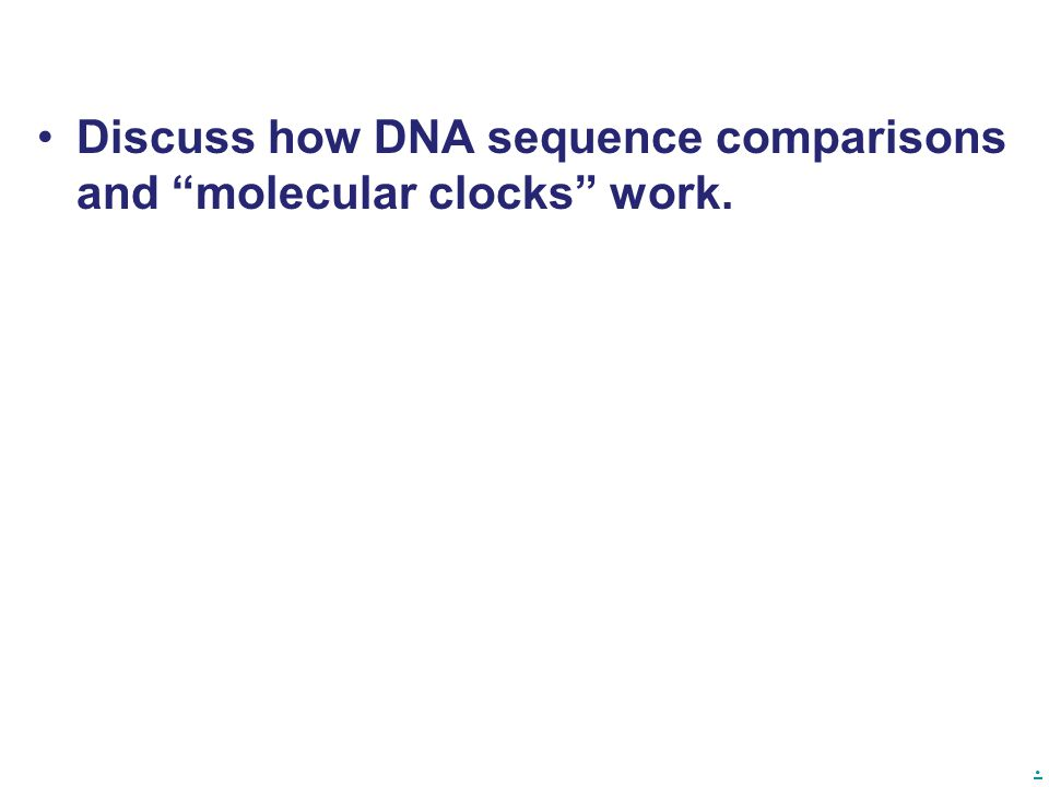 ". Discuss how DNA sequence comparisons and ""molecular clocks"" work."