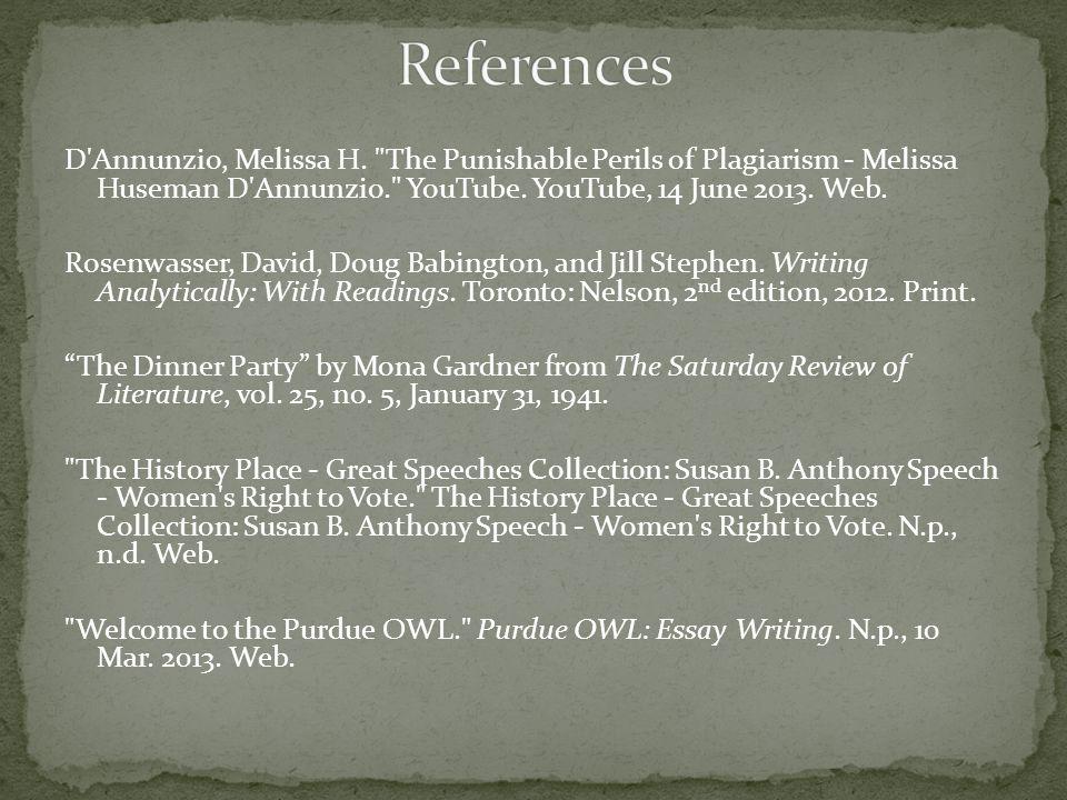 D Annunzio, Melissa H. The Punishable Perils of Plagiarism - Melissa Huseman D Annunzio. YouTube.