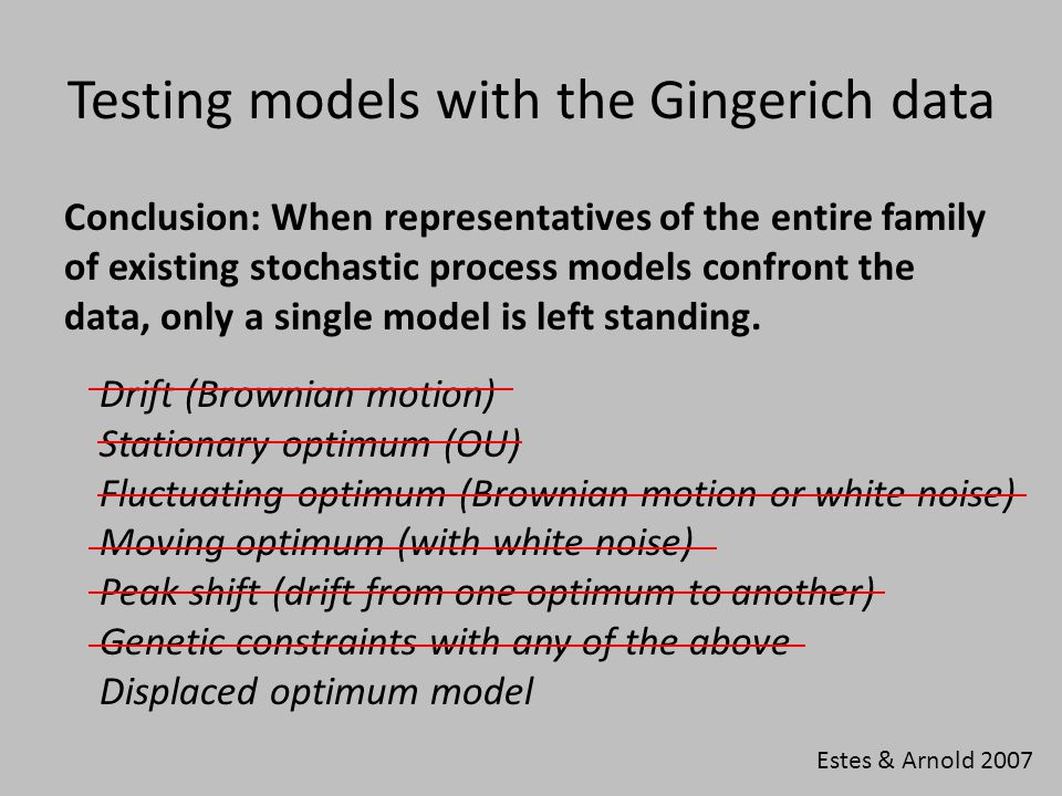 Testing models with the Gingerich data Conclusion: When representatives of the entire family of existing stochastic process models confront the data, only a single model is left standing.
