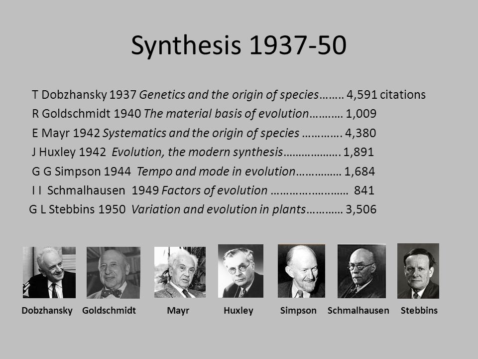 Synthesis in evolutionary biology An ongoing process since 1859, especially now.