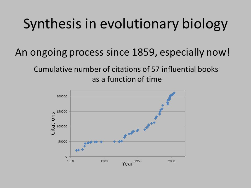 Simpson's 1944 synthesis Population genetics meets paleontology … evolution in deep evolutionary time Reliance on case studies Qualitative use of theory Use of graphical models (e.g., adaptive landscape for phenotypic traits)