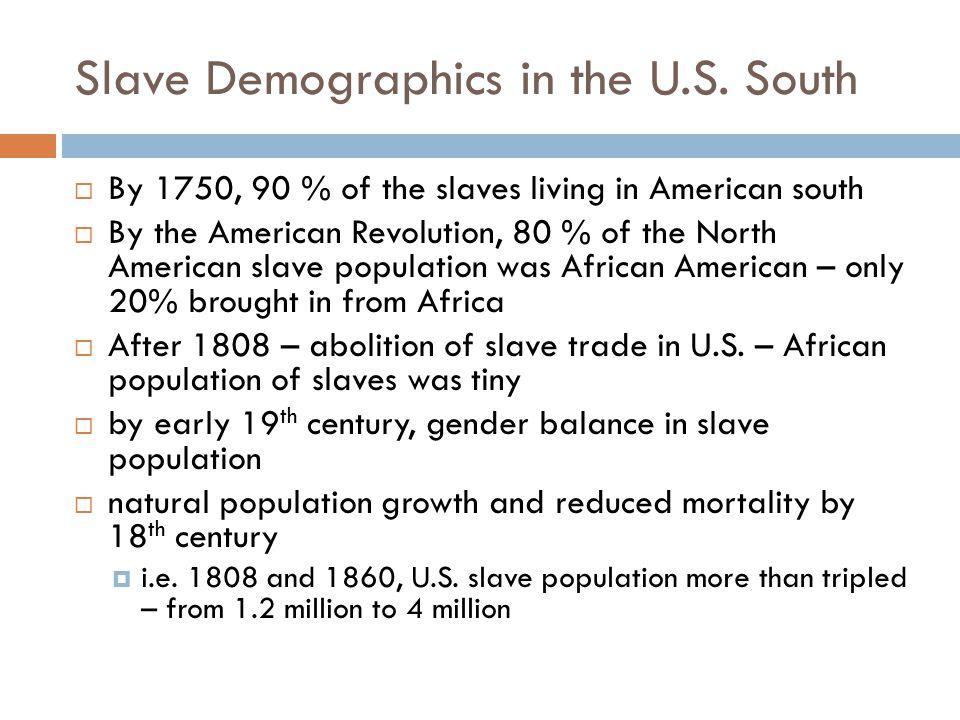 Slave Demographics in the U.S.