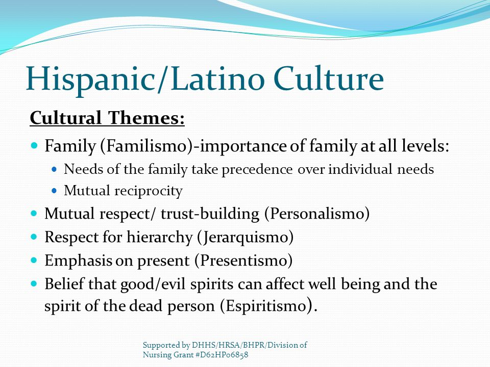 Hispanic/Latino Culture Cultural Themes: Family (Familismo)-importance of family at all levels : Needs of the family take precedence over individual needs Mutual reciprocity Mutual respect/ trust-building (Personalismo) Respect for hierarchy (Jerarquismo) Emphasis on present (Presentismo) Belief that good/evil spirits can affect well being and the spirit of the dead person (Espiritismo ).