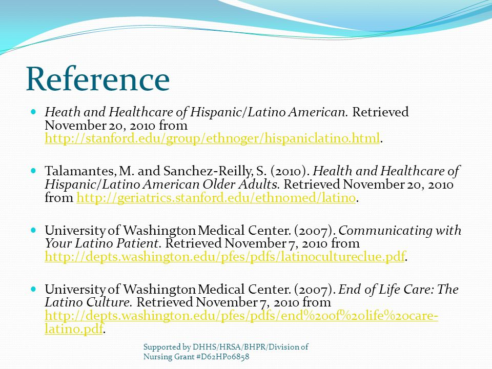 Reference Heath and Healthcare of Hispanic/Latino American.