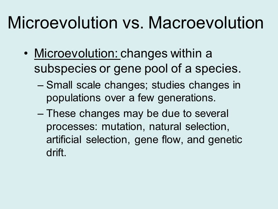Microevolution vs.