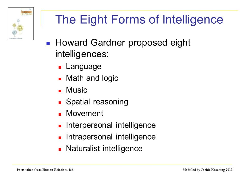 Parts taken from Human Relations 4ed Modified by Jackie Kroening 2011 The Eight Forms of Intelligence Howard Gardner proposed eight intelligences: Lan