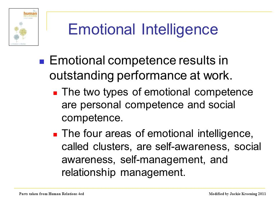 Parts taken from Human Relations 4ed Modified by Jackie Kroening 2011 Emotional Intelligence Emotional competence results in outstanding performance a