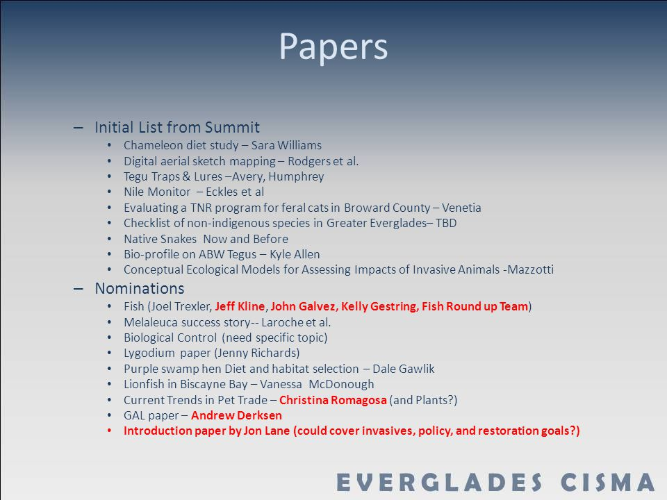 Papers – Initial List from Summit Chameleon diet study – Sara Williams Digital aerial sketch mapping – Rodgers et al.