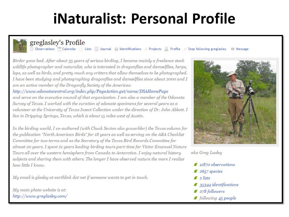iNaturalist: Personal Profile