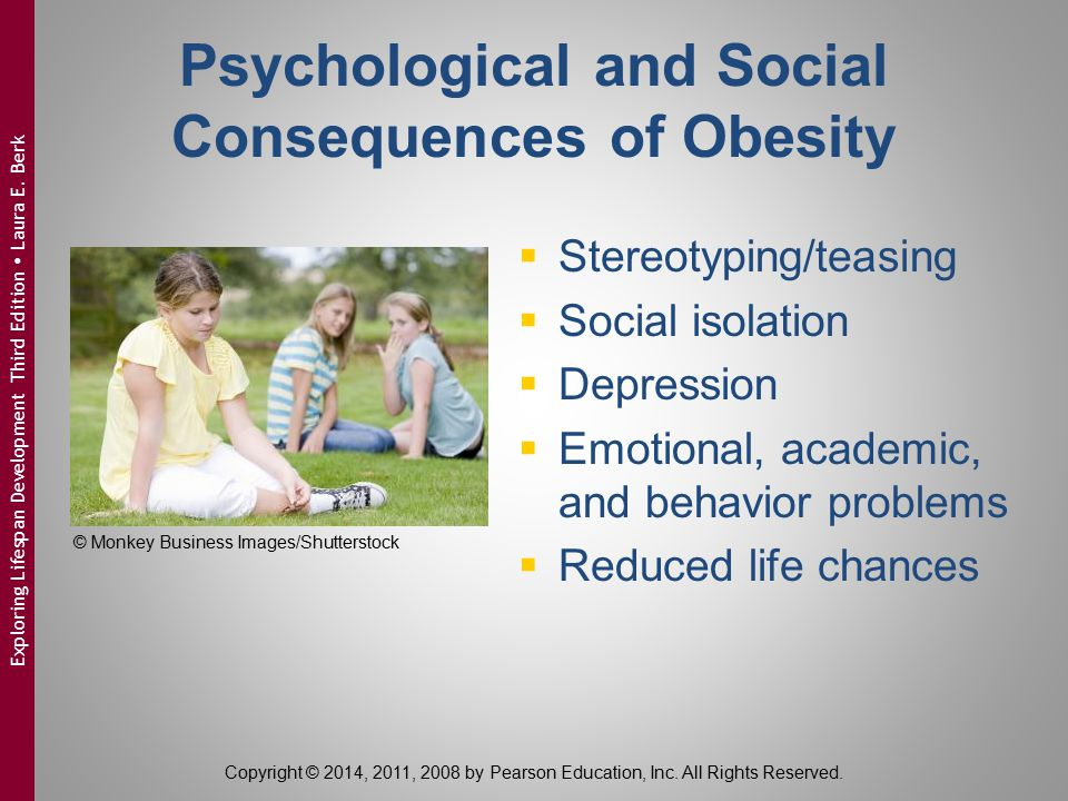 Treating Obesity  Family-based interventions:  diet change  exercise program  positive reinforcement  School environment:  screenings  improved nutrition standards  additional recess/physical education time  obesity awareness programs Copyright © 2014, 2011, 2008 by Pearson Education, Inc.