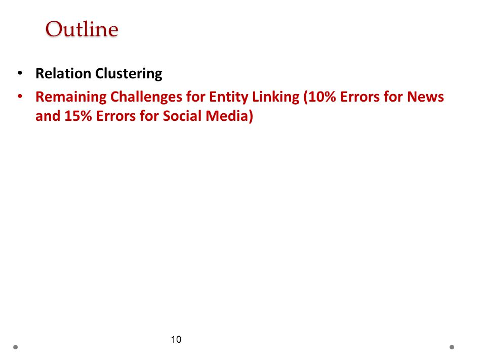 10 Outline Relation Clustering Remaining Challenges for Entity Linking (10% Errors for News and 15% Errors for Social Media)