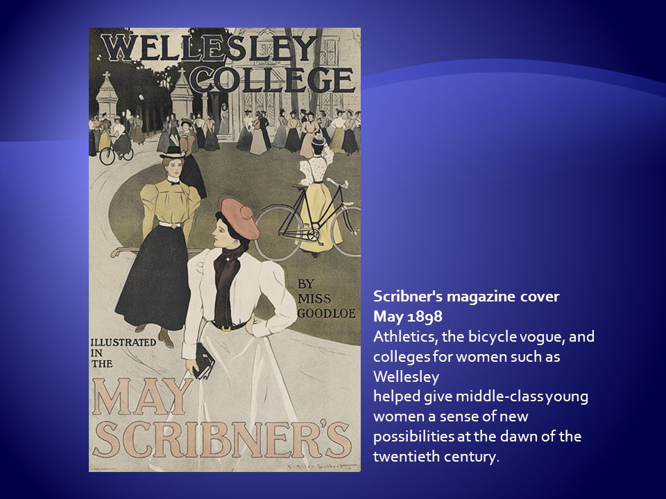 Scribner's magazine cover May 1898 Athletics, the bicycle vogue, and colleges for women such as Wellesley helped give middle-class young women a sense
