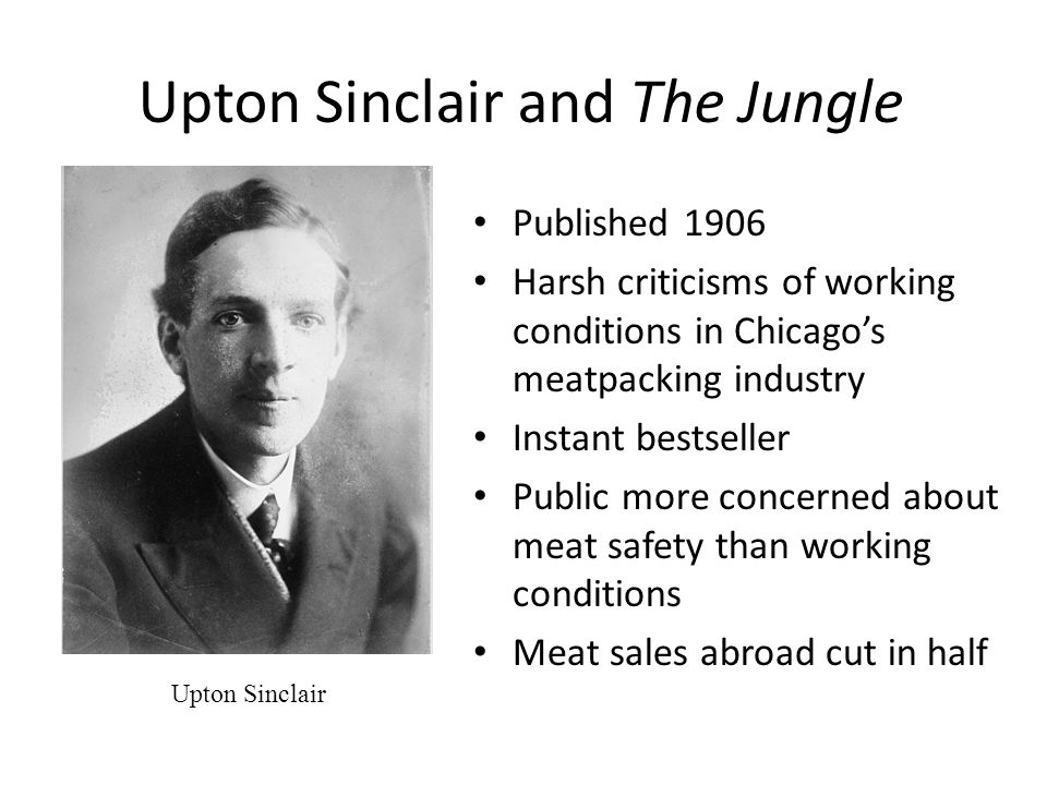 Food and Drug Legislation In response to growing public outrage over unsafe and unsanitary food Upton Sinclair's The Jungle Meat Inspection Act (1906) Pure Food and Drug Act (1906)