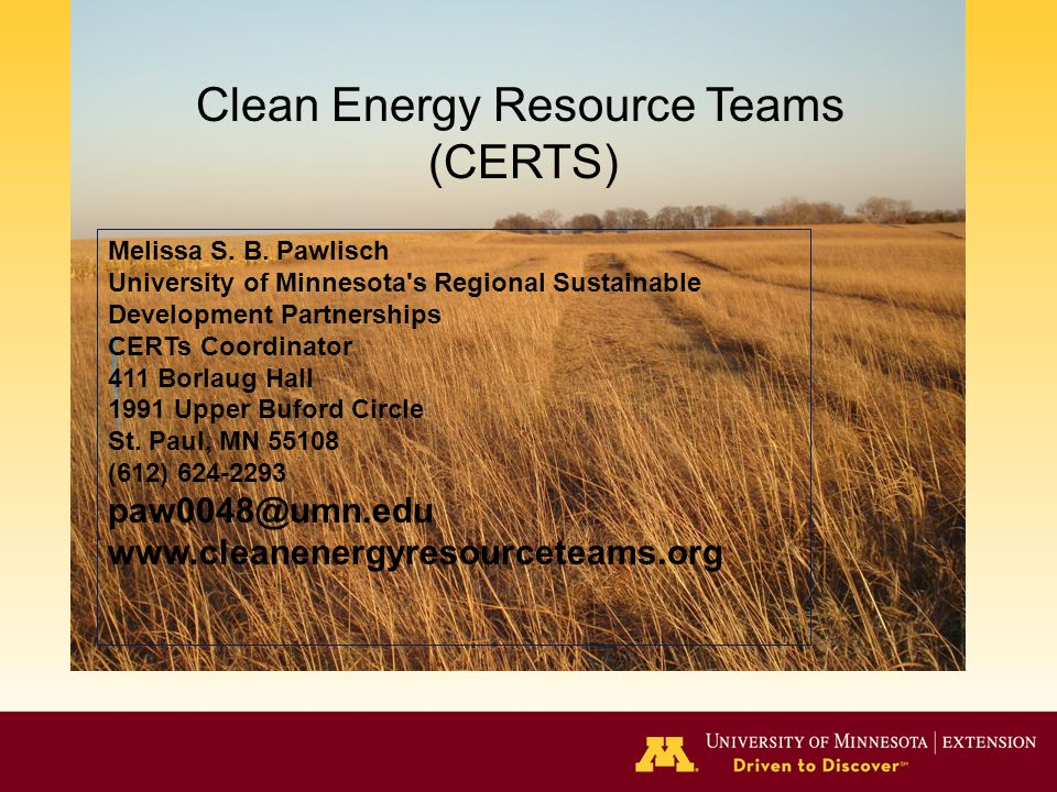 Clean Energy Resource Teams (CERTS) Melissa S. B.