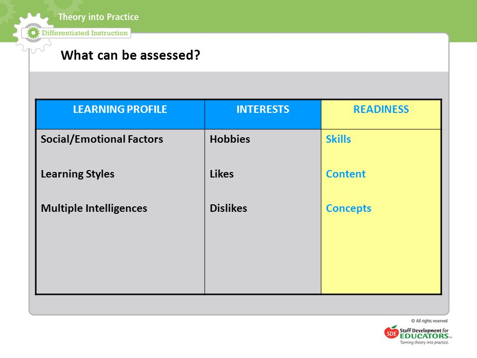 What can be assessed? LEARNING PROFILEINTERESTSREADINESS Social/Emotional Factors Learning Styles Multiple Intelligences Hobbies Likes Dislikes Skills