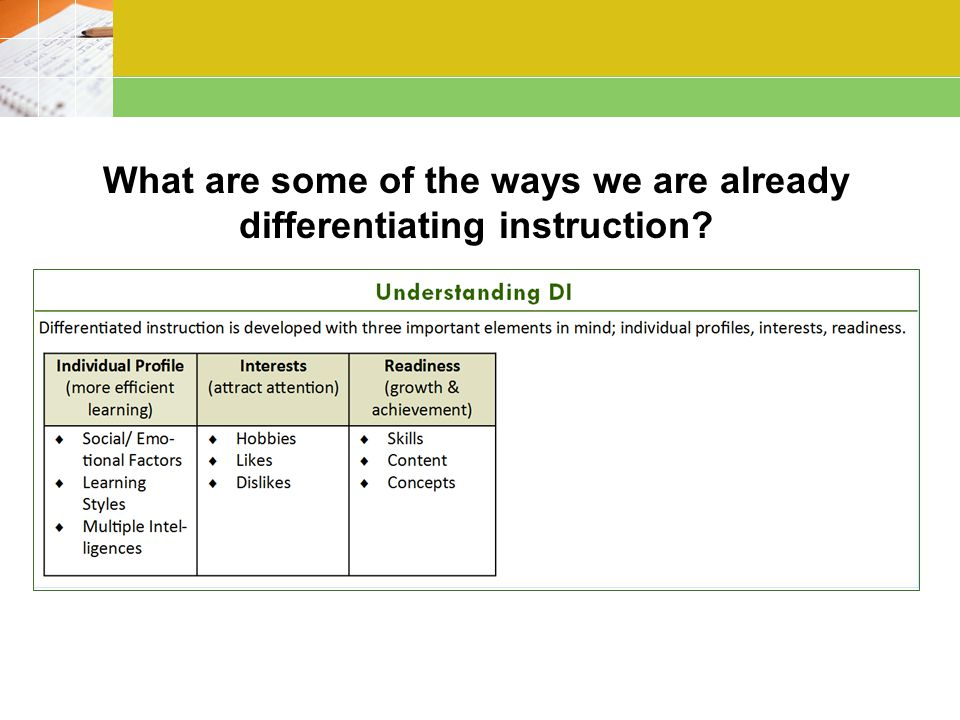 What are some of the ways we are already differentiating instruction?