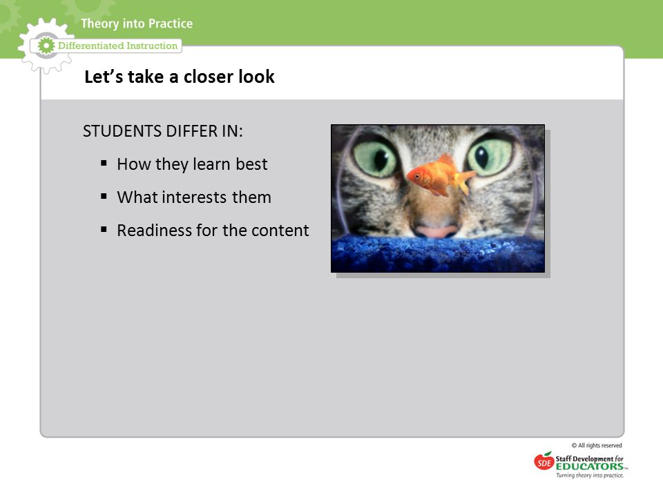 Let's take a closer look STUDENTS DIFFER IN:  How they learn best  What interests them  Readiness for the content