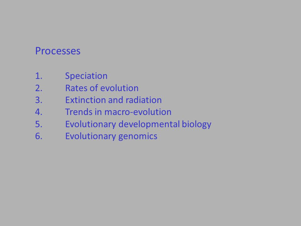Processes 1.Speciation 2.Rates of evolution 3.Extinction and radiation 4.Trends in macro-evolution 5.Evolutionary developmental biology 6.Evolutionary genomics