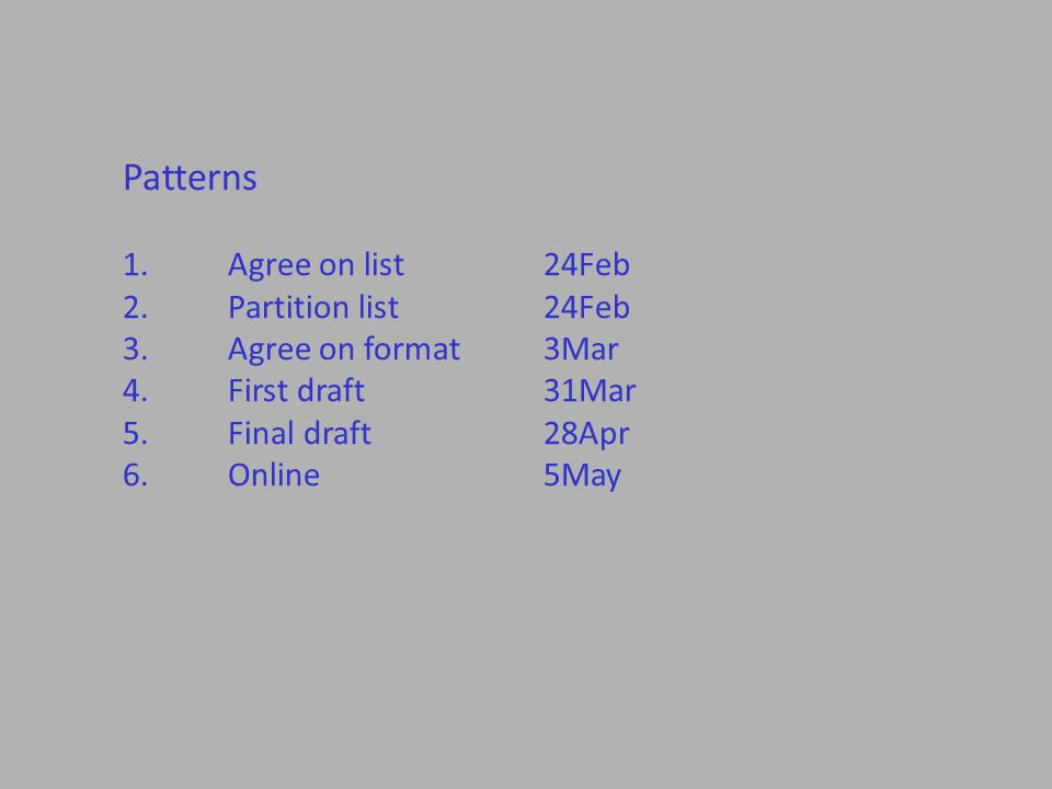 Patterns 1.Agree on list24Feb 2.Partition list24Feb 3.Agree on format3Mar 4.First draft31Mar 5.Final draft28Apr 6.Online5May