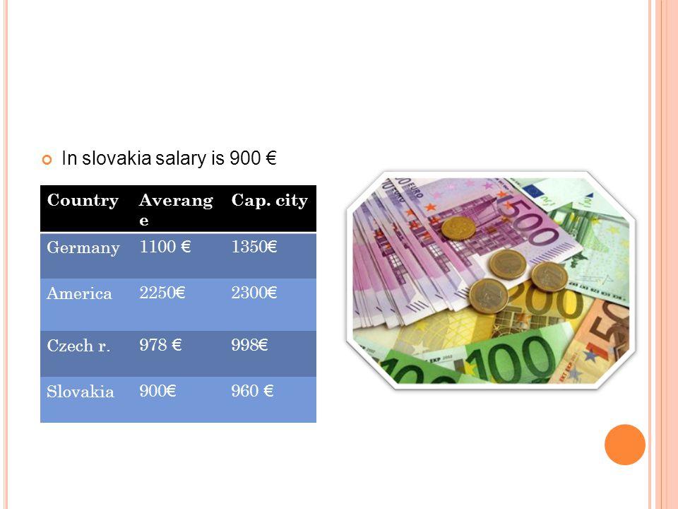 In slovakia salary is 900 € CountryAverang e Cap.