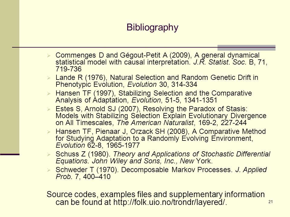 Bibliography  Commenges D and Gégout-Petit A (2009), A general dynamical statistical model with causal interpretation.