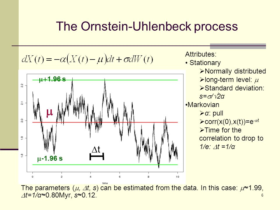 The Ornstein-Uhlenbeck process Attributes: Stationary  Normally distributed  long-term level:   Standard deviation: s=  /  2α Markovian  α: pull  corr(x(0),x(t))=e -  t  Time for the correlation to drop to 1/e:  t =1/α   1.96 s  -1.96 s tt The parameters ( ,  t, s) can be estimated from the data.