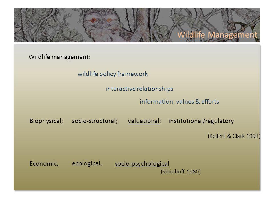 Wildlife Management Wildlife management: Biophysical; Economic, wildlife policy framework interactive relationships information, values & efforts socio-structural;valuational;institutional/regulatory (Kellert & Clark 1991) ecological, socio-psychological (Steinhoff 1980)