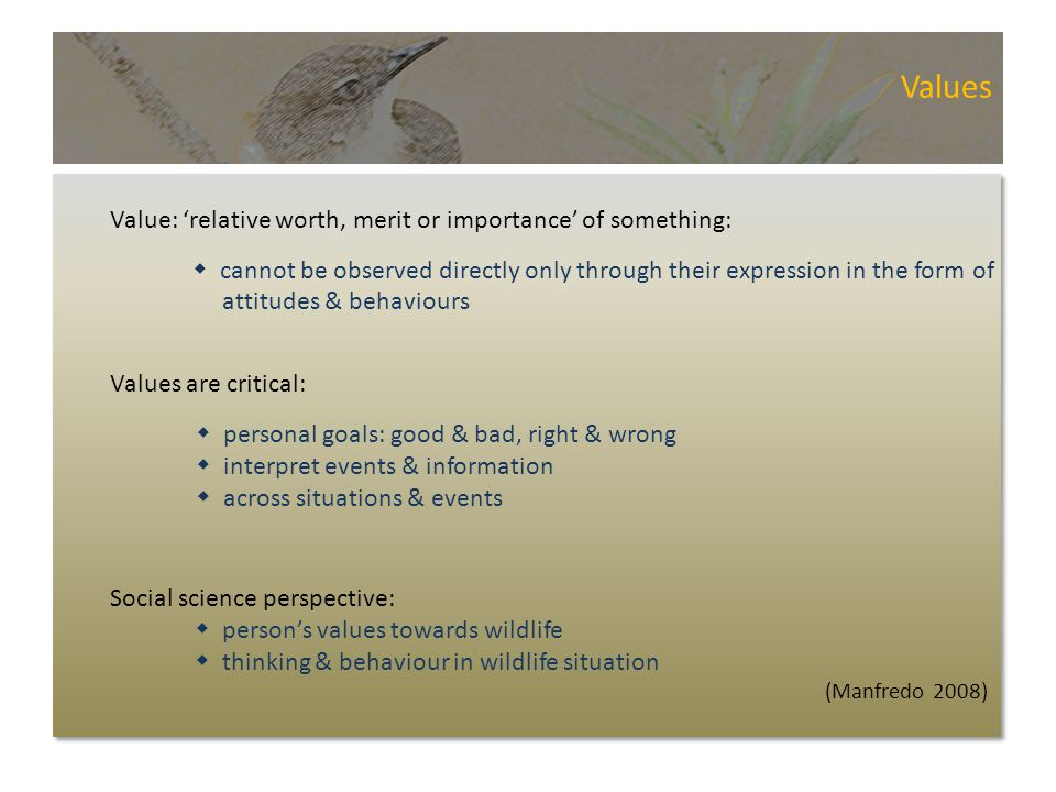 Values Value: 'relative worth, merit or importance' of something:  cannot be observed directly only through their expression in the form of attitudes & behaviours Values are critical:  personal goals: good & bad, right & wrong  interpret events & information  across situations & events Social science perspective:  person's values towards wildlife  thinking & behaviour in wildlife situation (Manfredo 2008)