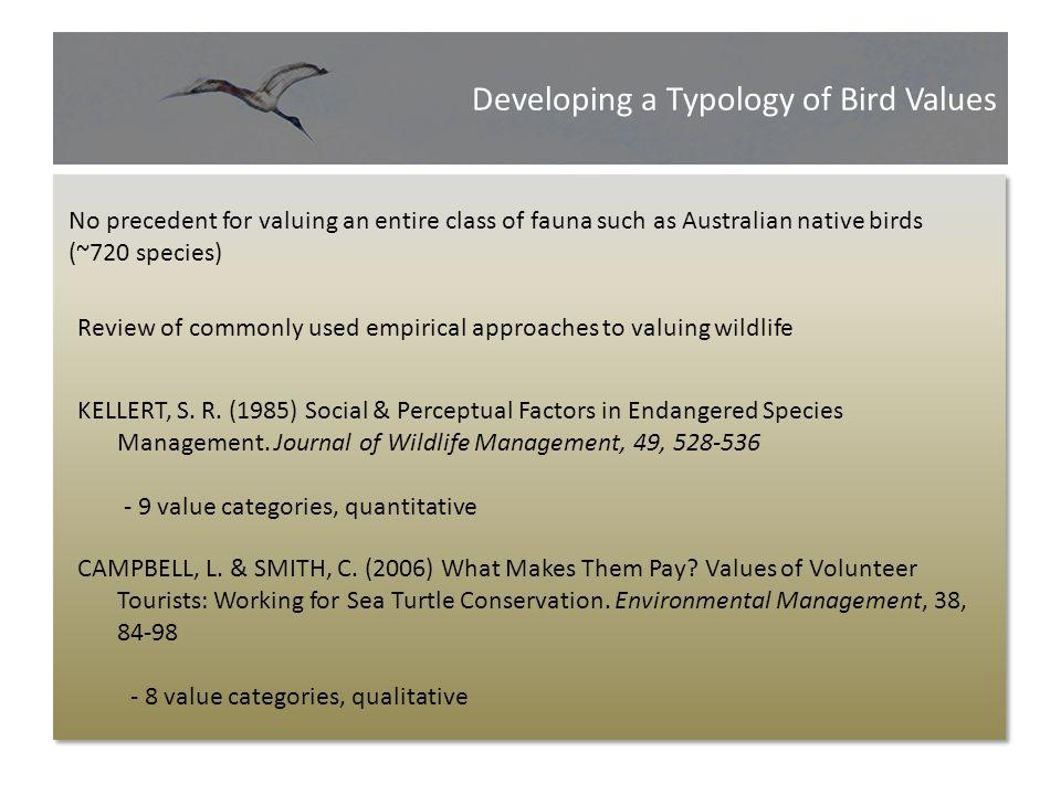 Developing a Typology of Bird Attitudes Developing a Typology of Bird Values No precedent for valuing an entire class of fauna such as Australian nati
