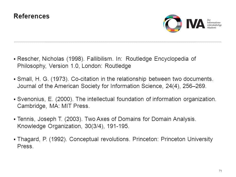 References  Rescher, Nicholas (1998). Fallibilism.