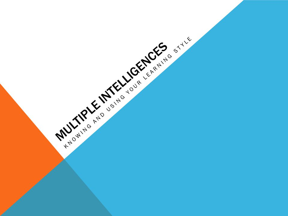 MULTIPLE INTELLIGENCES KNOWING AND USING YOUR LEARNING STYLE