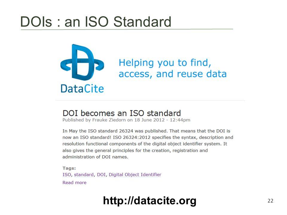 DOIs : an ISO Standard 22 http://datacite.org