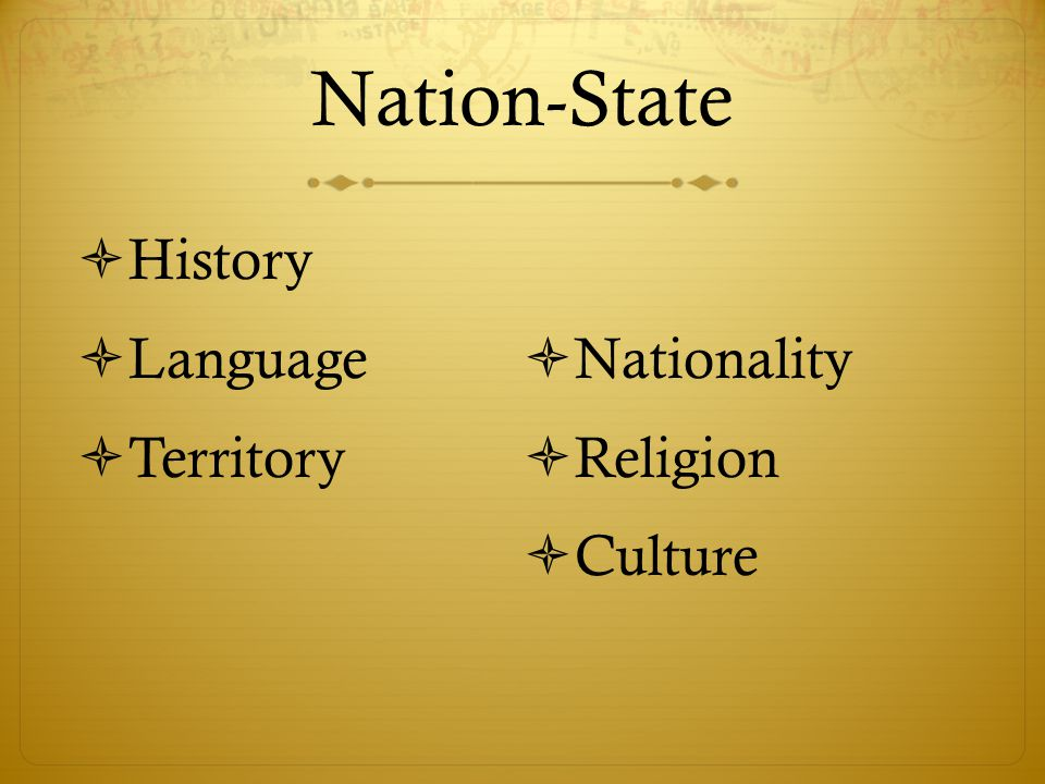 Nation-State  History  Language  Territory  Nationality  Religion  Culture
