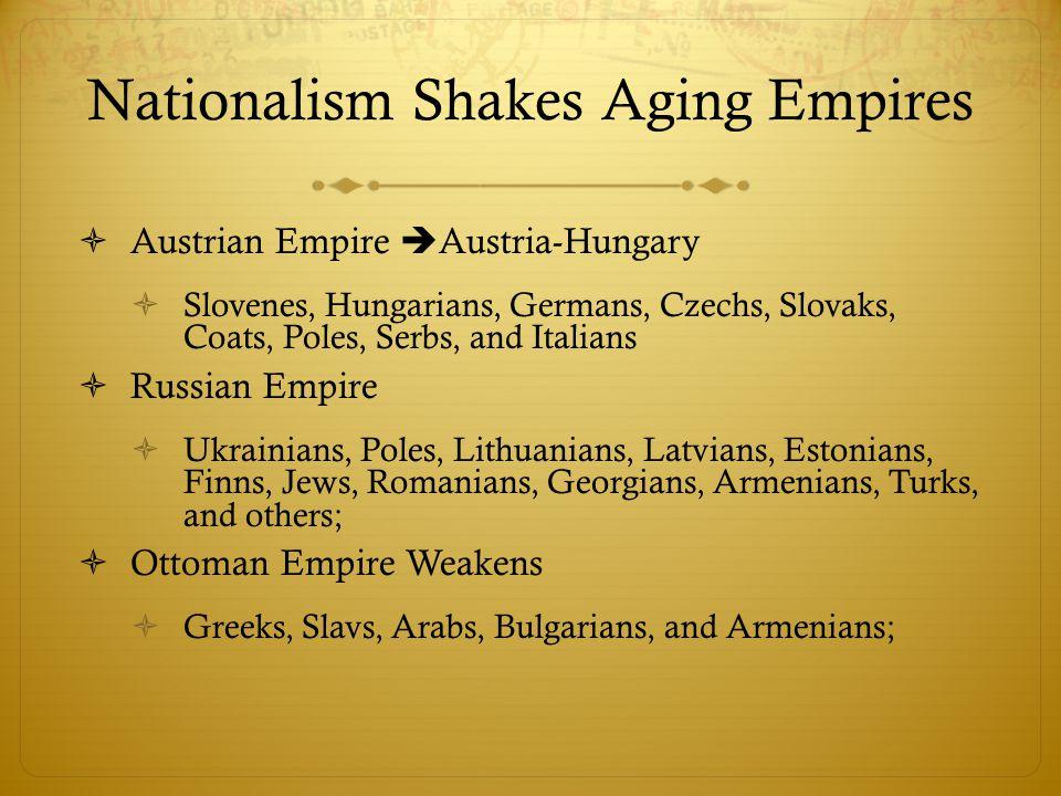 Nationalism Shakes Aging Empires  Austrian Empire  Austria-Hungary  Slovenes, Hungarians, Germans, Czechs, Slovaks, Coats, Poles, Serbs, and Italia