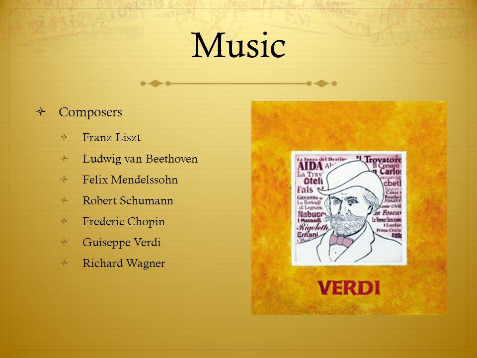 Music  Composers  Franz Liszt  Ludwig van Beethoven  Felix Mendelssohn  Robert Schumann  Frederic Chopin  Guiseppe Verdi  Richard Wagner