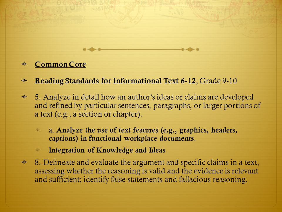  Common Core  Reading Standards for Informational Text 6-12, Grade 9-10  5. Analyze in detail how an author's ideas or claims are developed and ref
