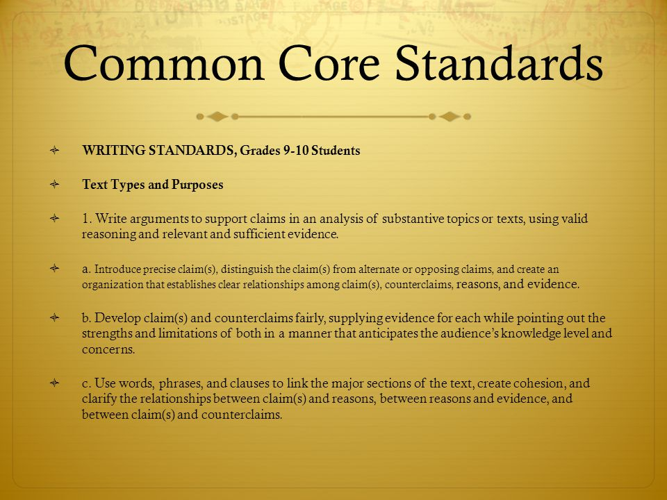 Common Core Standards  WRITING STANDARDS, Grades 9-10 Students  Text Types and Purposes  1. Write arguments to support claims in an analysis of sub