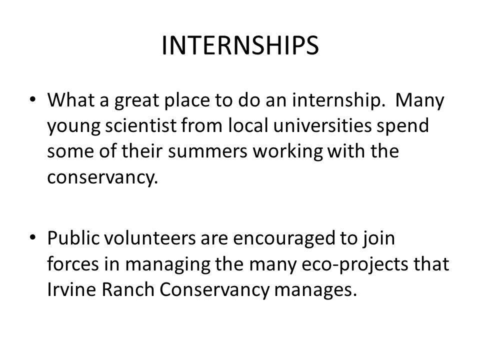 INTERNSHIPS What a great place to do an internship.