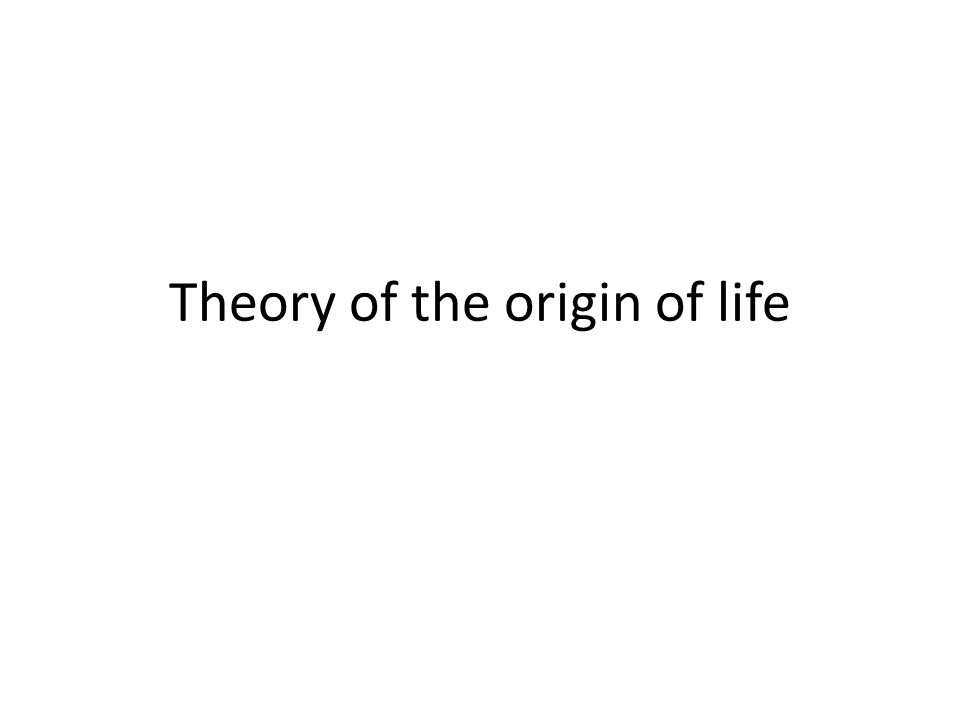 Theory of the origin of life