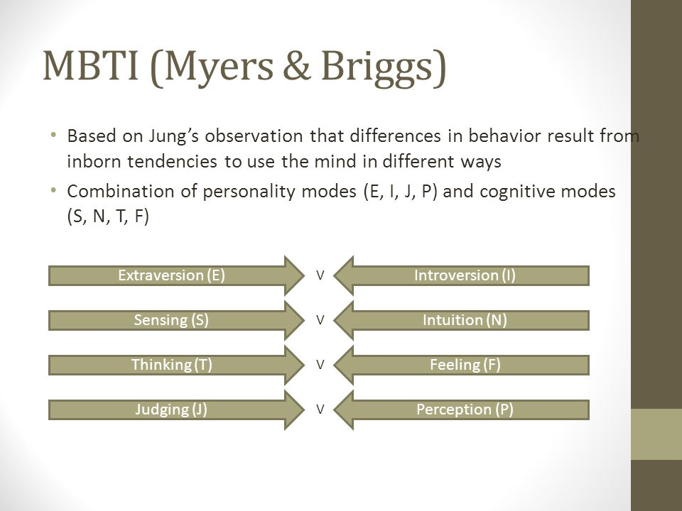 MBTI (Myers & Briggs) Based on Jung's observation that differences in behavior result from inborn tendencies to use the mind in different ways Combination of personality modes (E, I, J, P) and cognitive modes (S, N, T, F) Extraversion (E)Introversion (I) V Sensing (S)Intuition (N) V Thinking (T)Feeling (F) V Judging (J)Perception (P) V