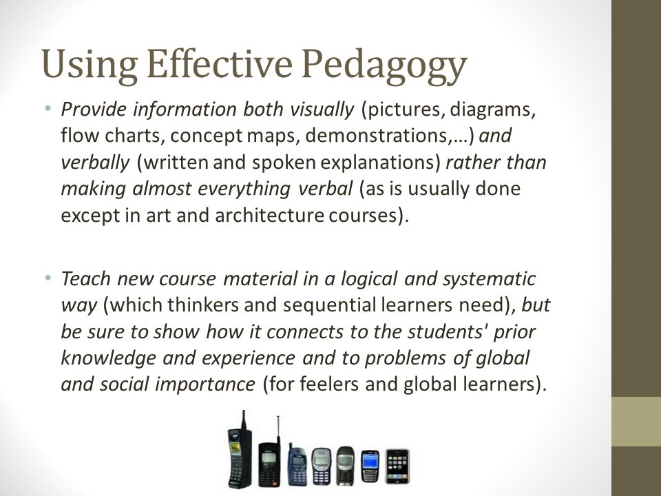 Using Effective Pedagogy Provide information both visually (pictures, diagrams, flow charts, concept maps, demonstrations,…) and verbally (written and spoken explanations) rather than making almost everything verbal (as is usually done except in art and architecture courses).