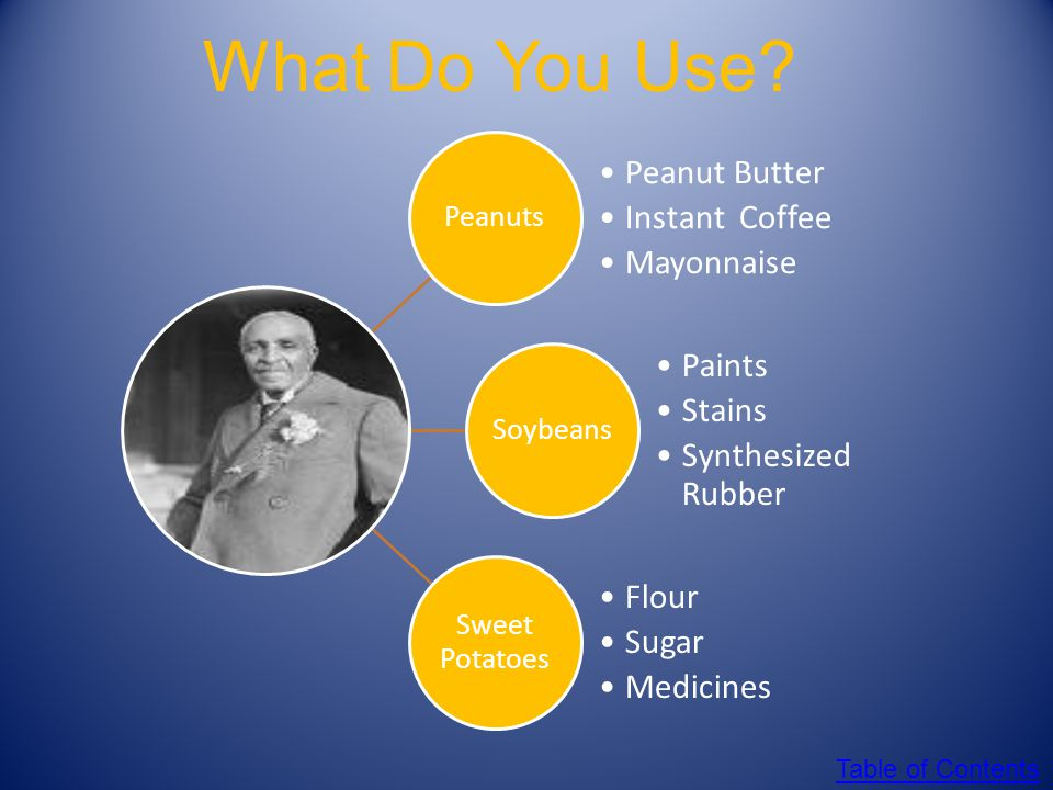 Peanuts, Sweet Potatoes and Soy Beans! OH MY! George Washington Carver worked hard to find plants that could be grown by the recently freed slaves tha