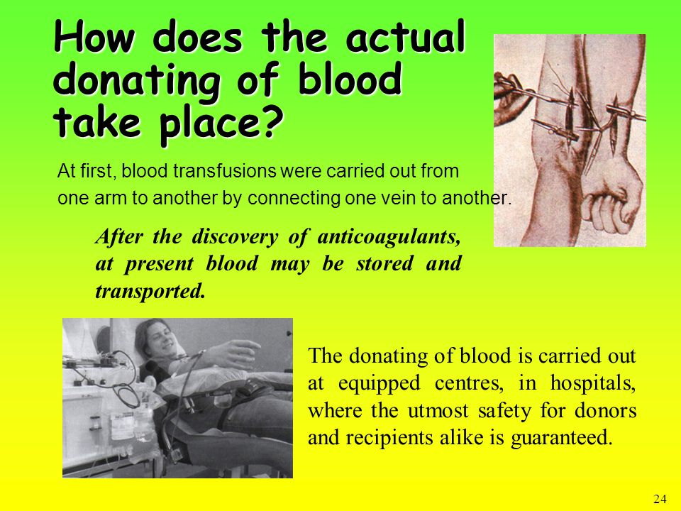 24 How does the actual donating of blood take place.