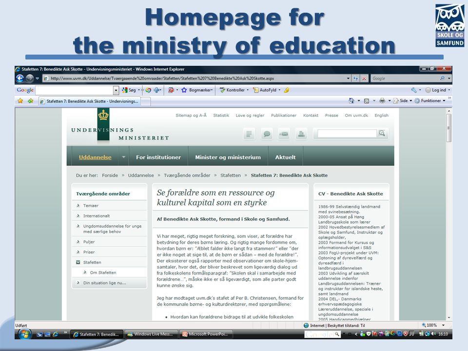 Homepage for the ministry of education