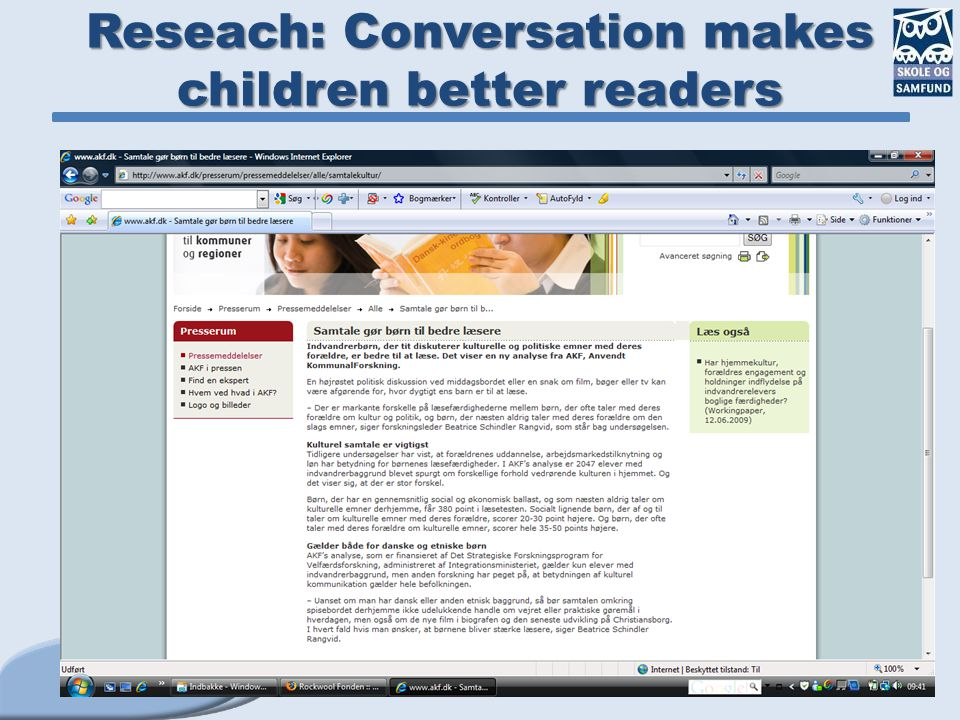 Reseach: Conversation makes children better readers