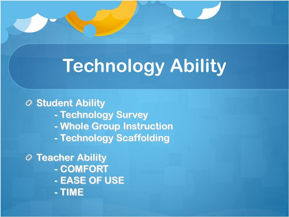 Technology Ability Student Ability - Technology Survey - Whole Group Instruction - Technology Scaffolding Teacher Ability - COMFORT - EASE OF USE - TI